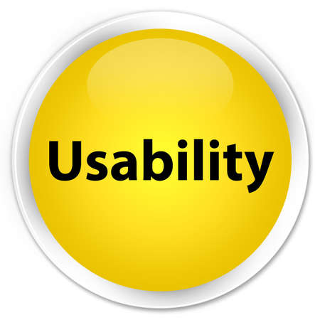 Usability isolated on premium yellow round button abstract illustration
