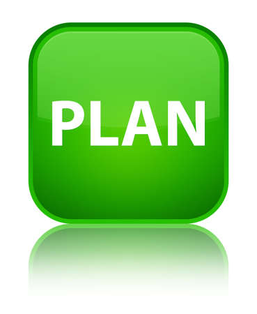Plan isolated on special green square button reflected abstract illustration Stock Photo