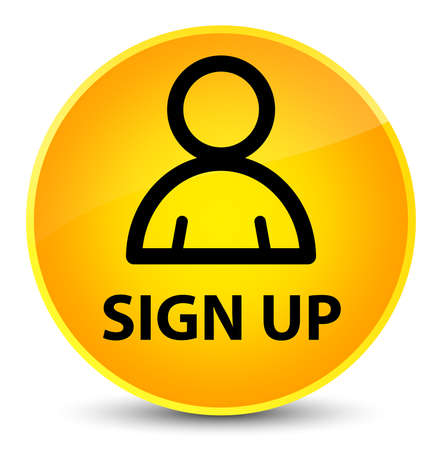 Sign up (member icon) isolated on elegant yellow round button abstract illustration