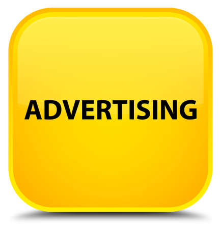 Advertising isolated on special yellow square button abstract illustration Stock Photo