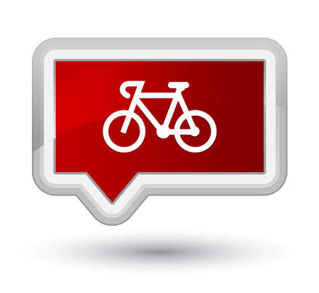 prime: Bicycle icon isolated on prime red banner button abstract illustration