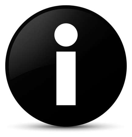 Info icon isolated on black round button abstract illustration