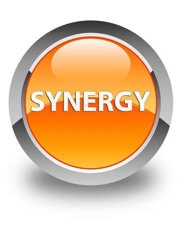 Synergie op glanzende oranje ronde knoop abstracte illustratie die wordt geïsoleerd