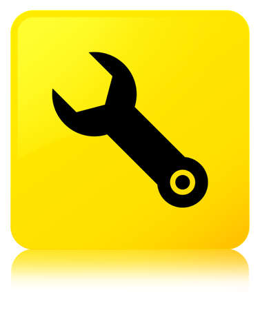 Wrench icon isolated on yellow square button reflected abstract illustration