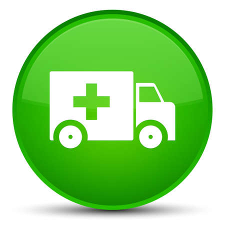 Ambulance icon isolated on special green round button abstract illustration Stock Photo