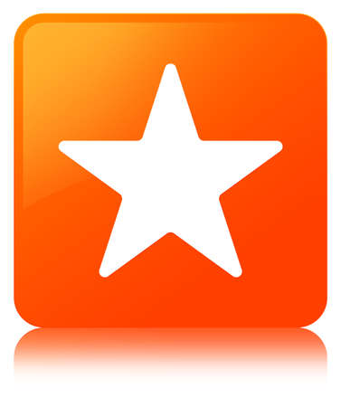Star icon isolated on orange square button reflected abstract illustration