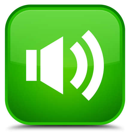 Volume icon isolated on special green square button abstract illustration