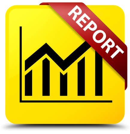 Report (statistics icon) isolated on yellow square button with red ribbon in corner abstract illustration Stock Photo