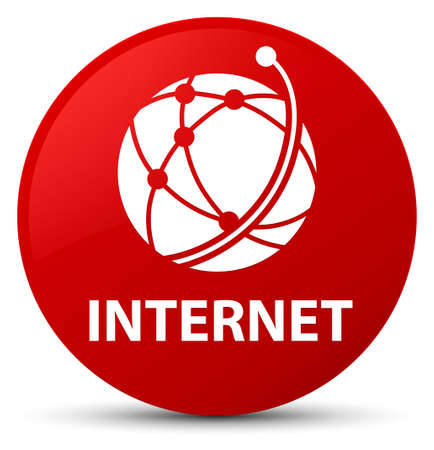 Internet (global network icon) isolated on red round button abstract illustration Stock Photo