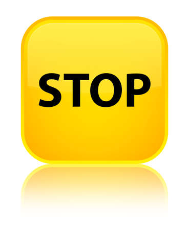 Stop isolated on special yellow square button reflected abstract illustration