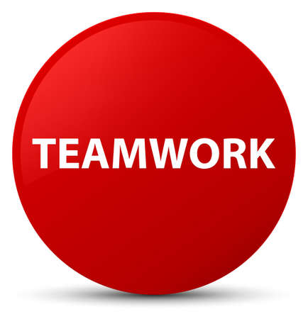 Teamwork isolated on red round button abstract illustration
