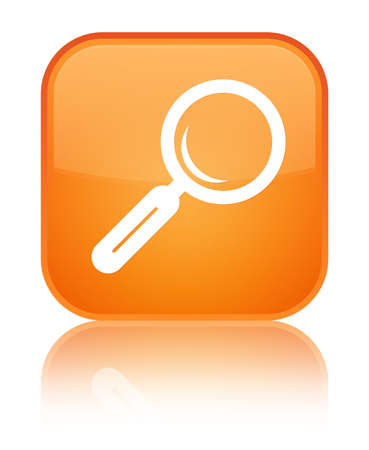 Magnifying glass icon isolated on special orange square button reflected abstract illustration