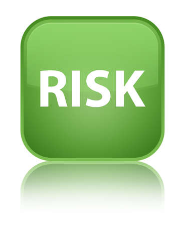 Risk isolated on special soft green square button reflected abstract illustration