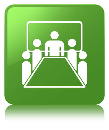 Meeting room icon isolated on soft green square button reflected abstract illustration Stock Photo