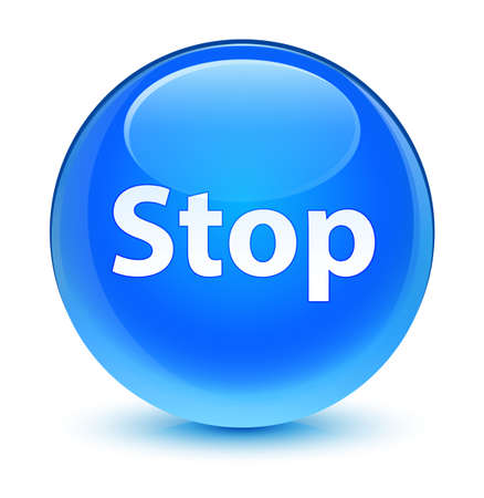 Stop isolated on glassy cyan blue round button abstract illustration