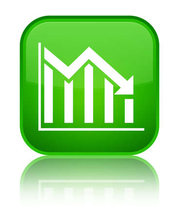 Statistics down icon isolated on special green square button reflected abstract illustration