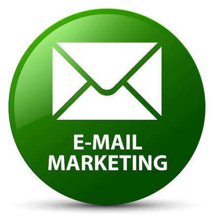 E-mail marketing isolated on green round button abstract illustration Stock Photo