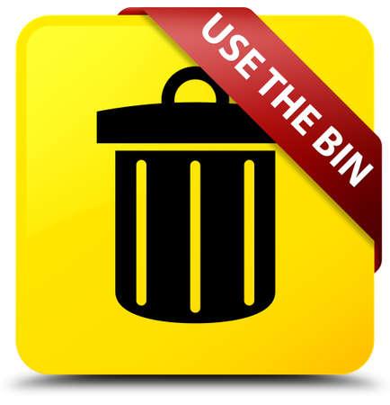 Utilisez la corbeille (icône de la corbeille) isolée sur un bouton carré jaune avec ruban rouge en illustration abstraite de coin Banque d'images - 90428546