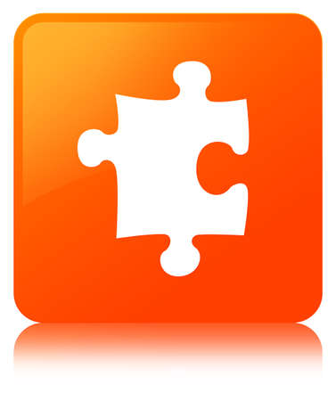 Puzzle icon isolated on orange square button reflected abstract illustration