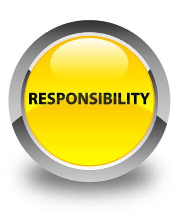 Verantwoordelijkheid op glanzende gele ronde knoop abstracte illustratie die wordt geïsoleerd