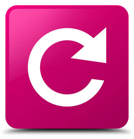 Reply rotate icon isolated on pink square button abstract illustration