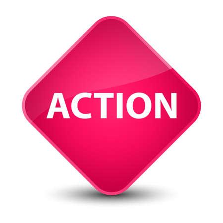 Action isolated on elegant pink diamond button abstract illustration