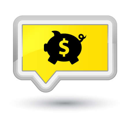 Piggy bank dollar sign icon isolated on prime yellow banner button abstract illustration Stock Photo