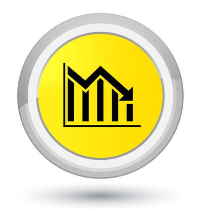 Statistics down icon isolated on prime yellow round button abstract illustration Stock Photo