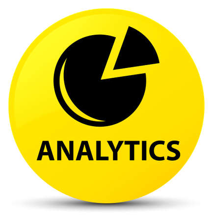 Analytics (graph icon) isolated on yellow round button abstract illustration