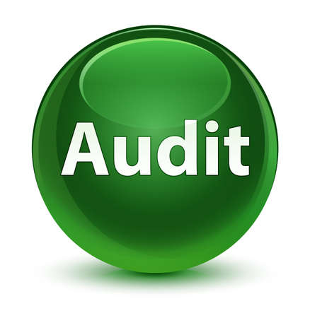 Audit isolated on glassy soft green round button abstract illustration