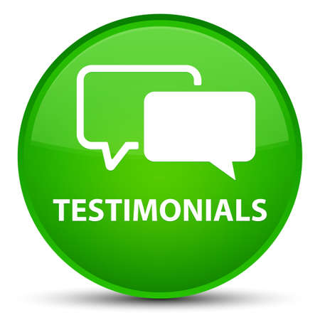 Testimonials isolated on special green round button abstract illustration Stock Photo