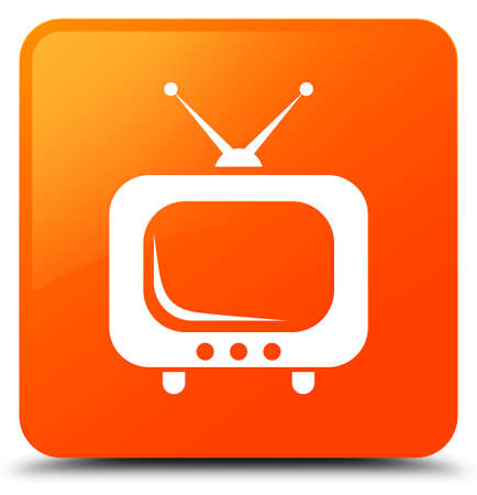 TV icon isolated on orange square button abstract illustration