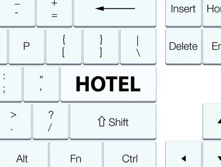 Hotel isolated on white keyboard button abstract illustration