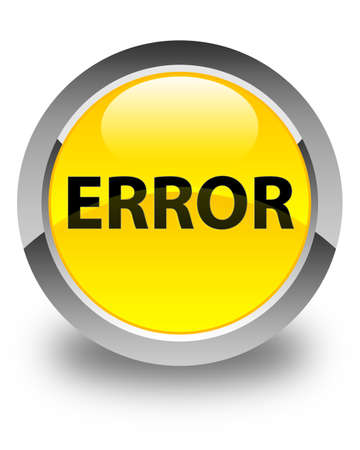 Error isolated on glossy yellow round button abstract illustration
