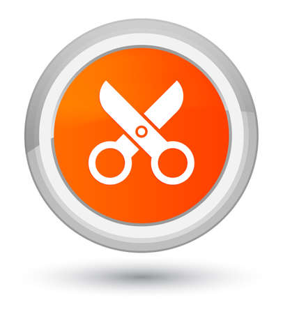 Scissors icon isolated on prime orange round button abstract illustration Stock Photo