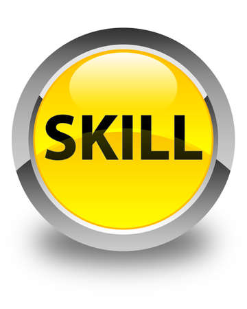 Skill isolated on glossy yellow round button abstract illustration