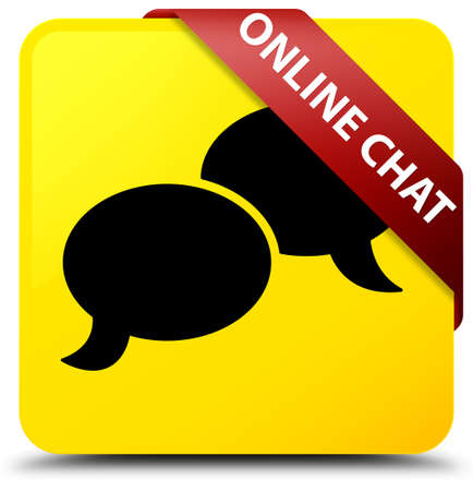 Online chat isolated on yellow square button with red ribbon in corner abstract illustration