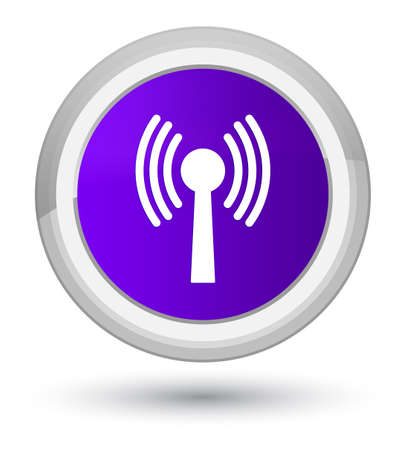 Wlan network icon isolated on prime purple round button abstract illustration
