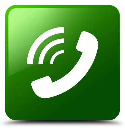 Phone ringing icon isolated on green square button abstract illustration