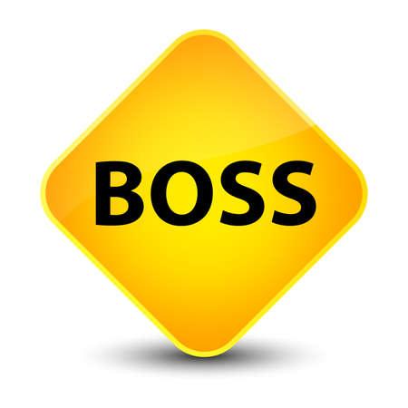 Boss isolated on elegant yellow diamond button abstract illustration