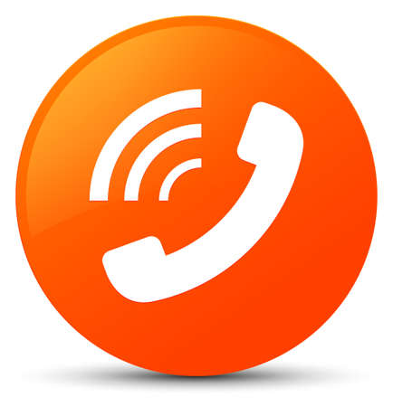 Phone ringing icon isolated on orange round button abstract illustration
