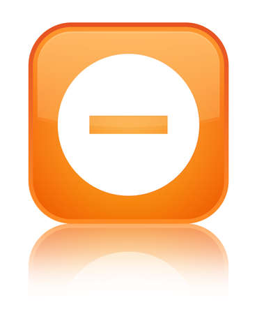 Cancel icon isolated on special orange square button reflected abstract illustration Stock Photo