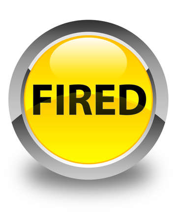 Fired isolated on glossy yellow round button abstract illustration