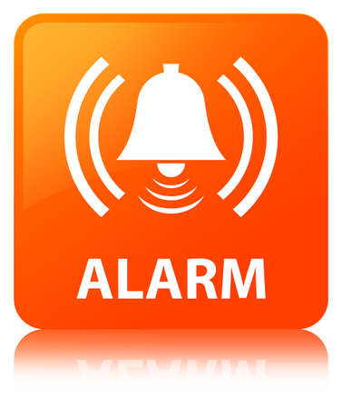 Alarm (bell icon) isolated on orange square button reflected abstract illustration