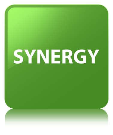 De synergie op zachte groene vierkante knoop wordt geïsoleerd wees op abstracte illustratie die