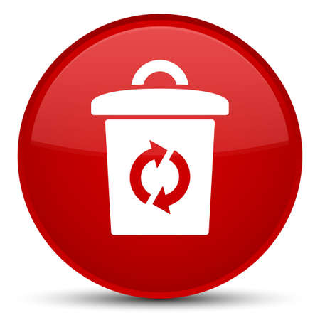 trash container: Trash icon isolated on special red round button abstract illustration