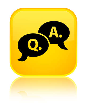 Question answer bubble icon isolated on special yellow square button reflected abstract illustration