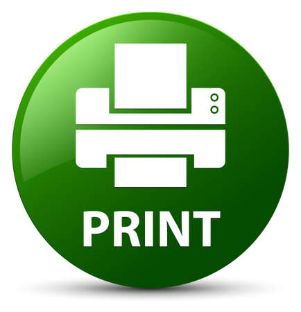 Print (printer icon) isolated on green round button abstract illustration