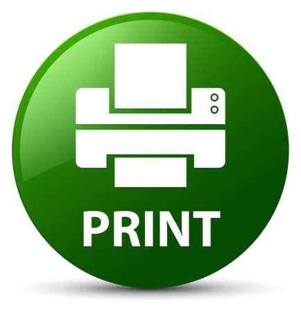 Drukuj (ikona drukarki) na białym tle na ilustracji streszczenie zielony okrągły przycisk