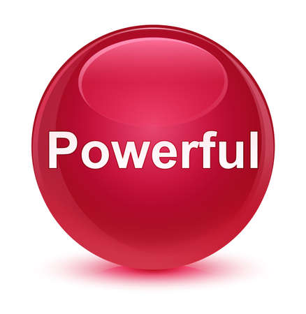 Powerful isolated on glassy pink round button abstract illustration
